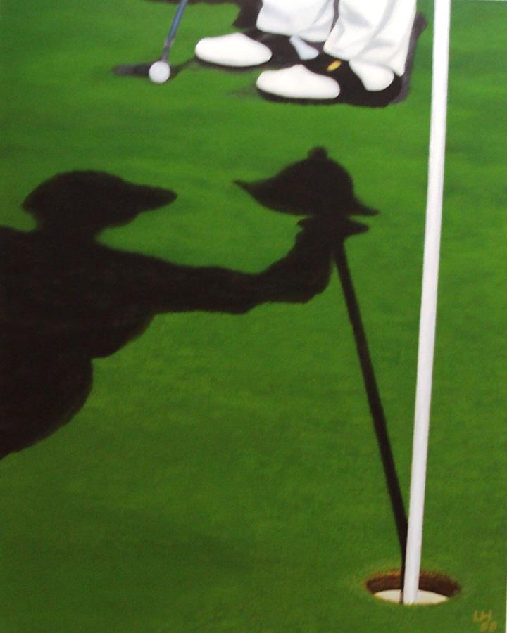 Golf-Kunst von Udo A. Heinrich: Das Stress-Gespenst