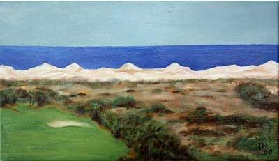 Golf-Kunst von Udo A. Heinrich: Golfplatz am Meer