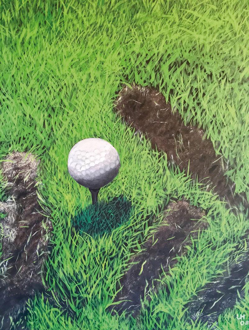 Golf-Kunst von Udo A. Heinrich: Knapp daneben